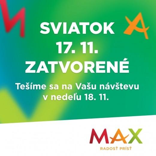 26dec3905 17.11. je naše nákupné centrum zatvorené. Tešíme sa na vás v nedeľu 18.11.  :)