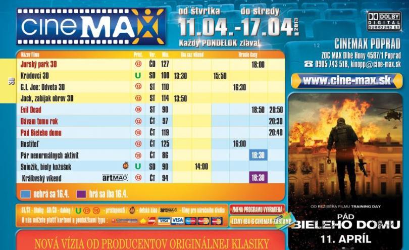 12849f75c Aktuálny program CINEMAX-u | Zľavy a akcie v OC MAX Poprad